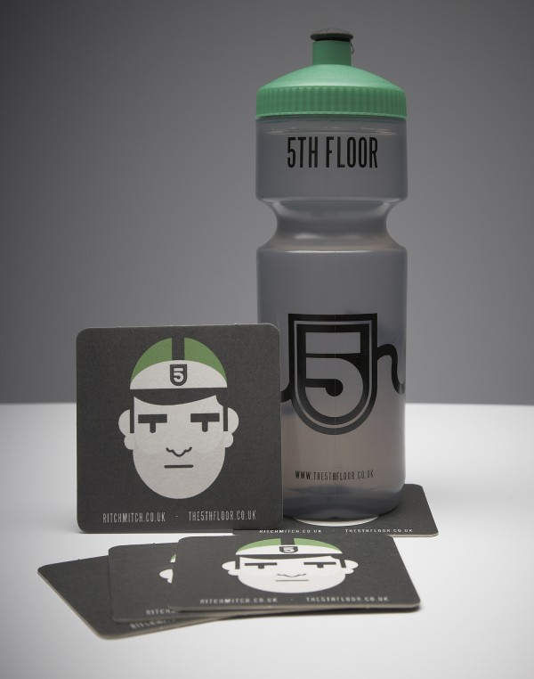 5th floor water bottle and drink coaster bundle available for Floor 9 water bottle